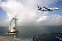 A380 passes by the Burj Al Arab © Emirates Airlines